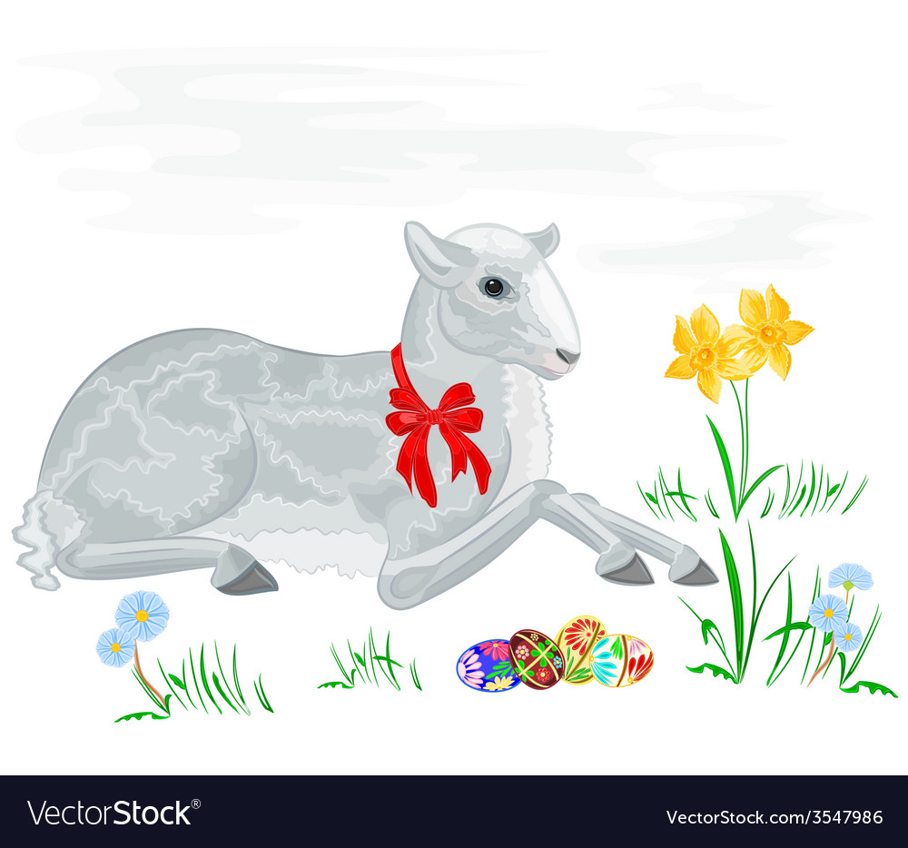Easter lamb and daffodil vector