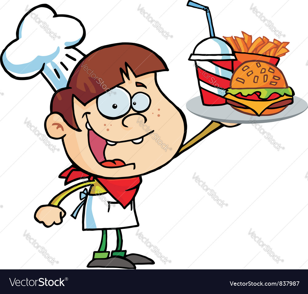 Boy holding up a cheeseburger fries and cola vector