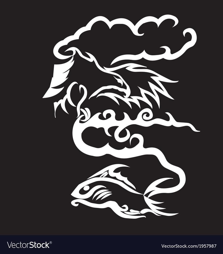 Sea eagle caught fish - cartoon vector