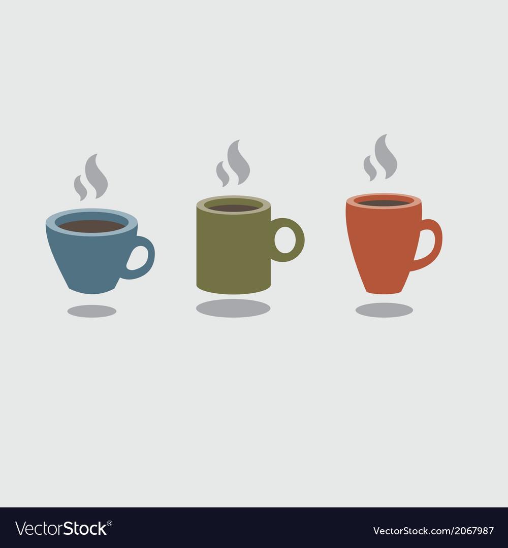 Set of hot coffee cup vector