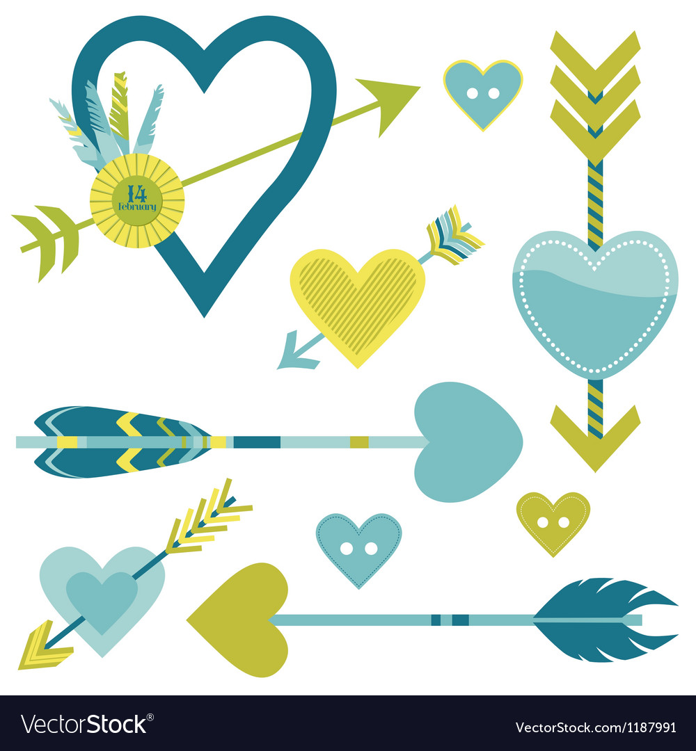 Love heart and arrows background vector