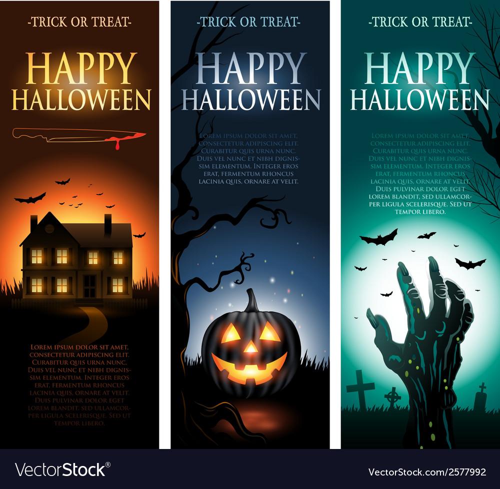Vertical halloween invitation banners vector