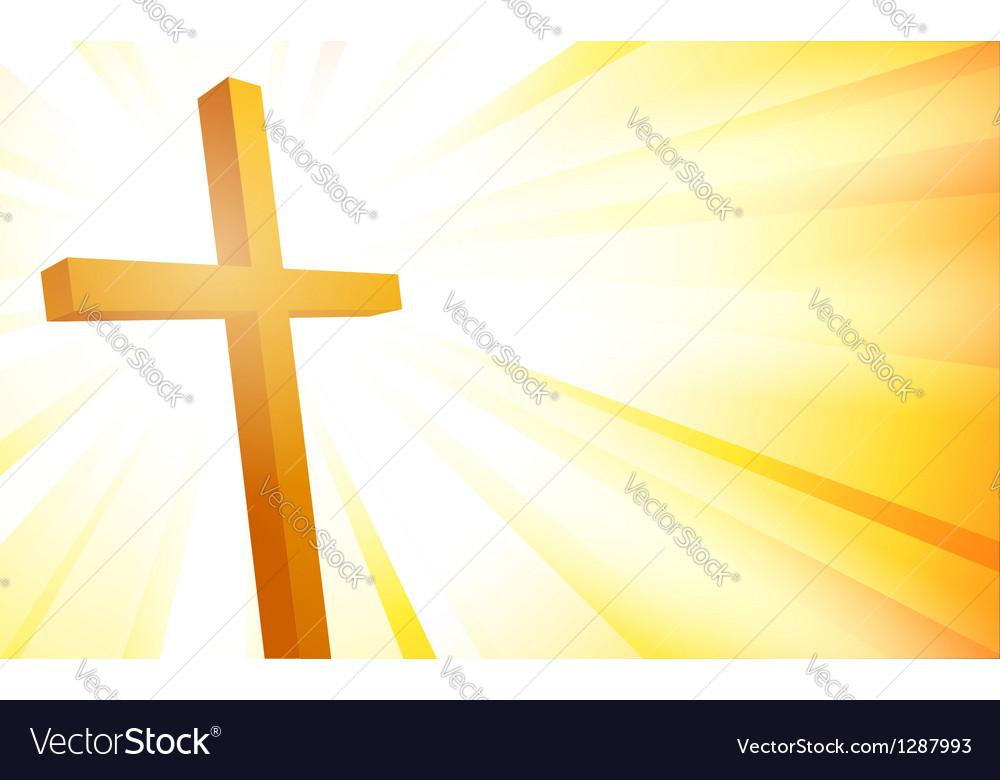 Cross on sunburst background vector