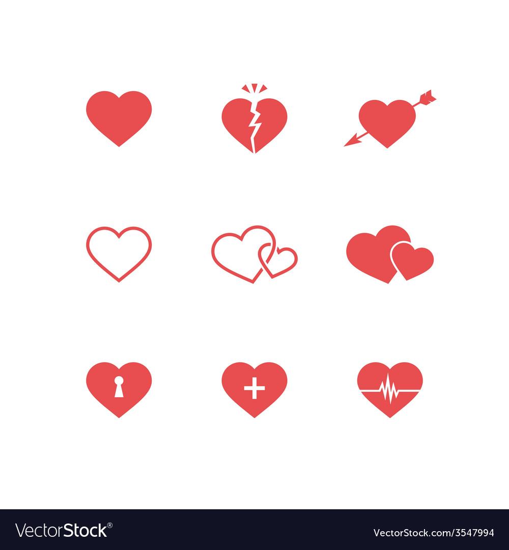 Heart symbols set vector