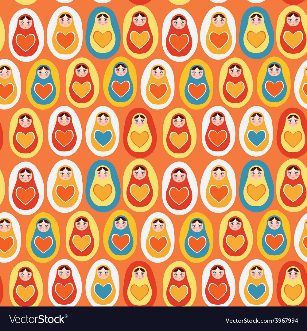 Seamless pattern orange blue red yellow russian vector