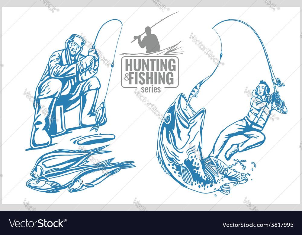 Hunting and fishing vintage emblem vector
