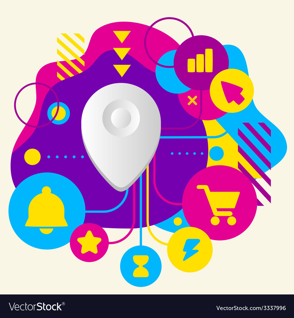 Geo location on abstract colorful spotted vector