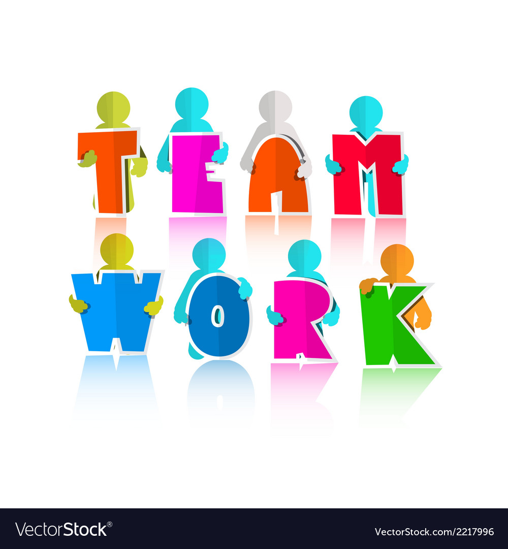 Team title with paper cut people vector
