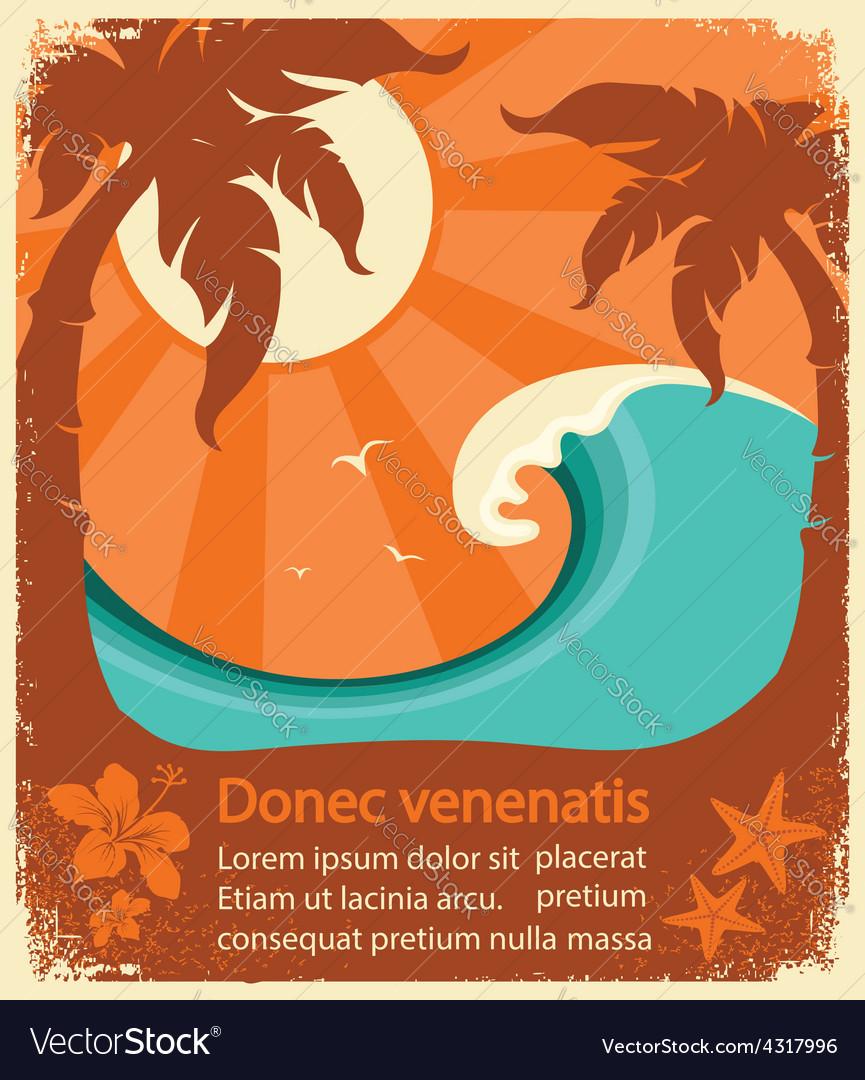 Tropical paradise retro poster vector