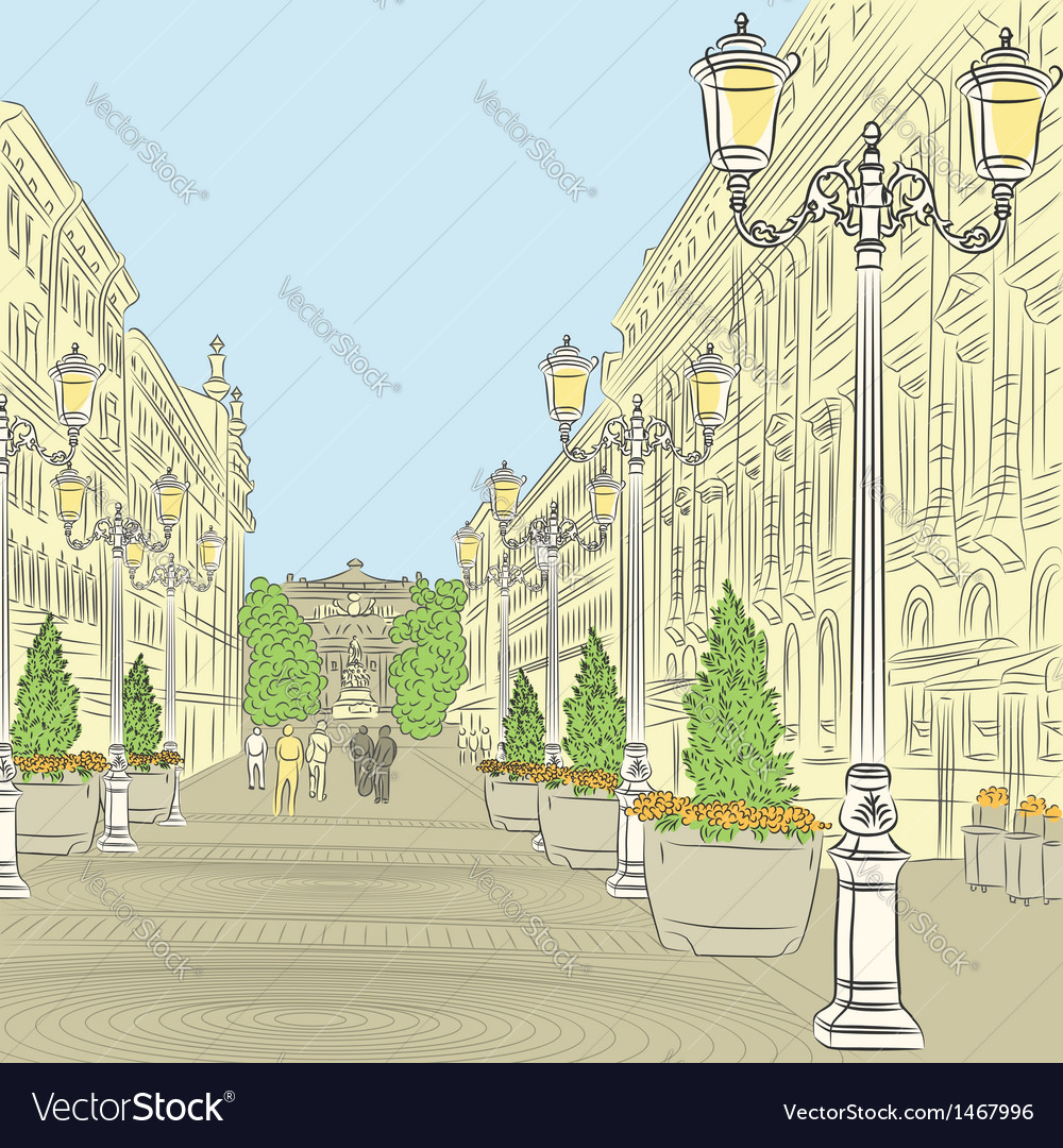 Wide avenue with vintage buildings vector