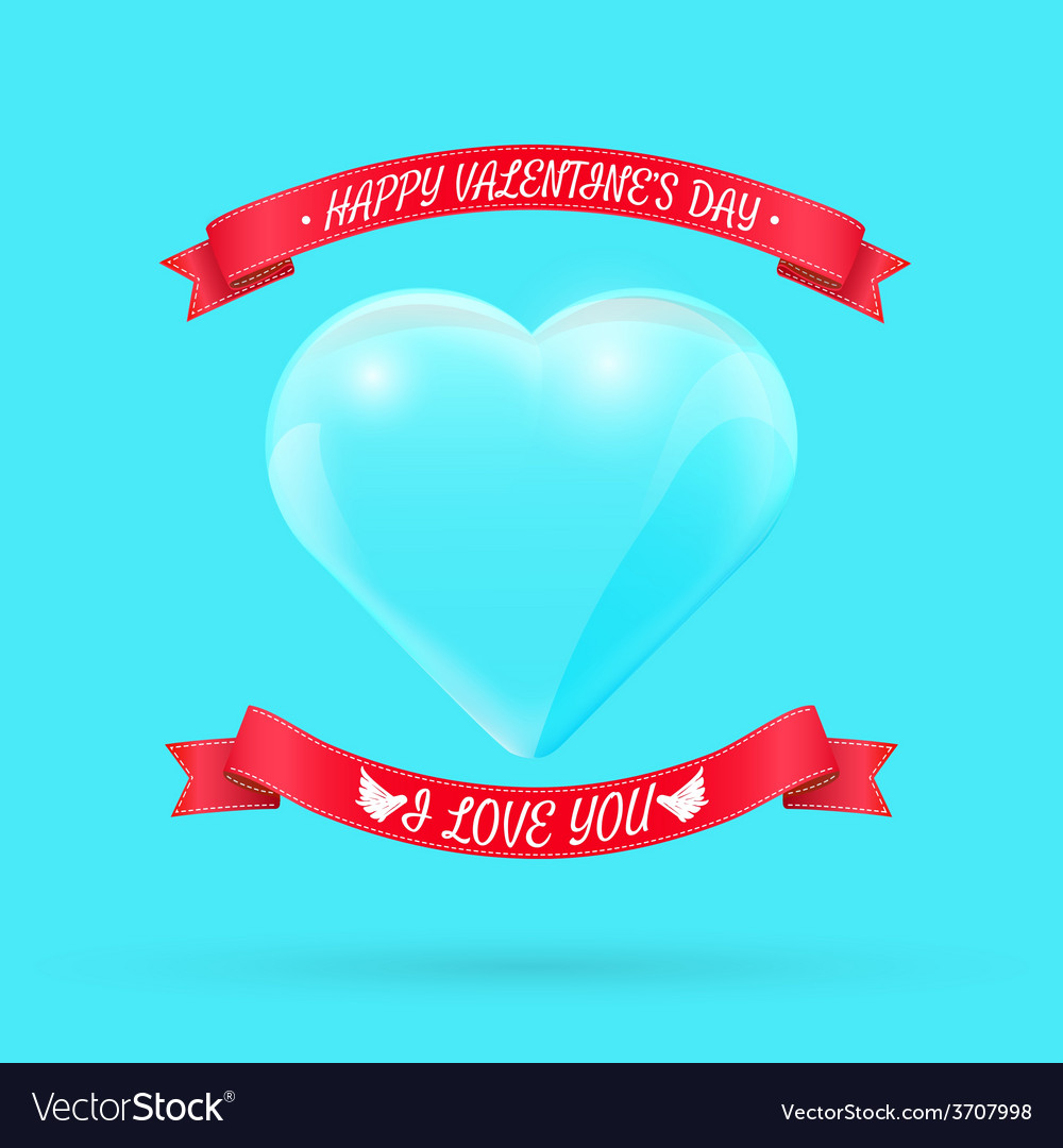Valentines day background with glass heart vector