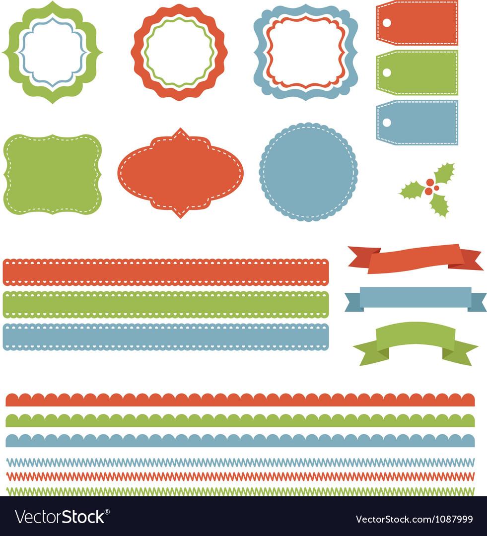 Christmas labels borders ribbons tags set vector