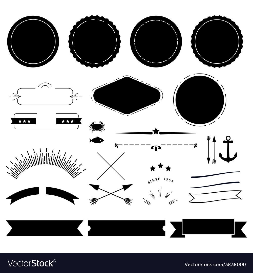 Retro labels elements kit vector