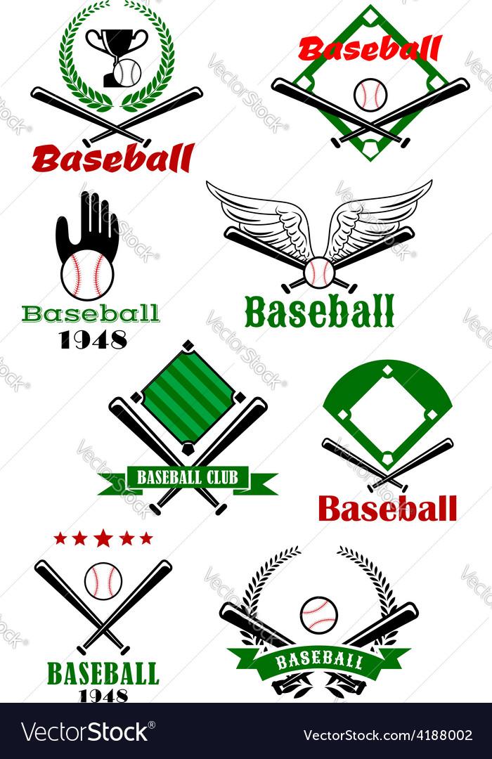 Baseball game sporting emblems and symbols vector