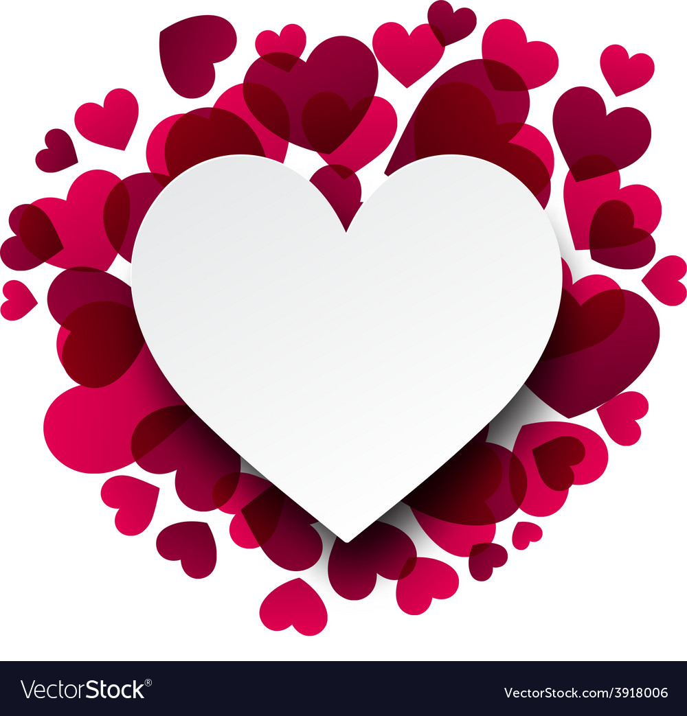 Valentines background with pink hearts vector