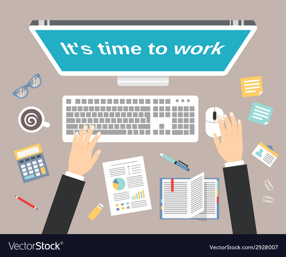 Businessman workplace top view vector