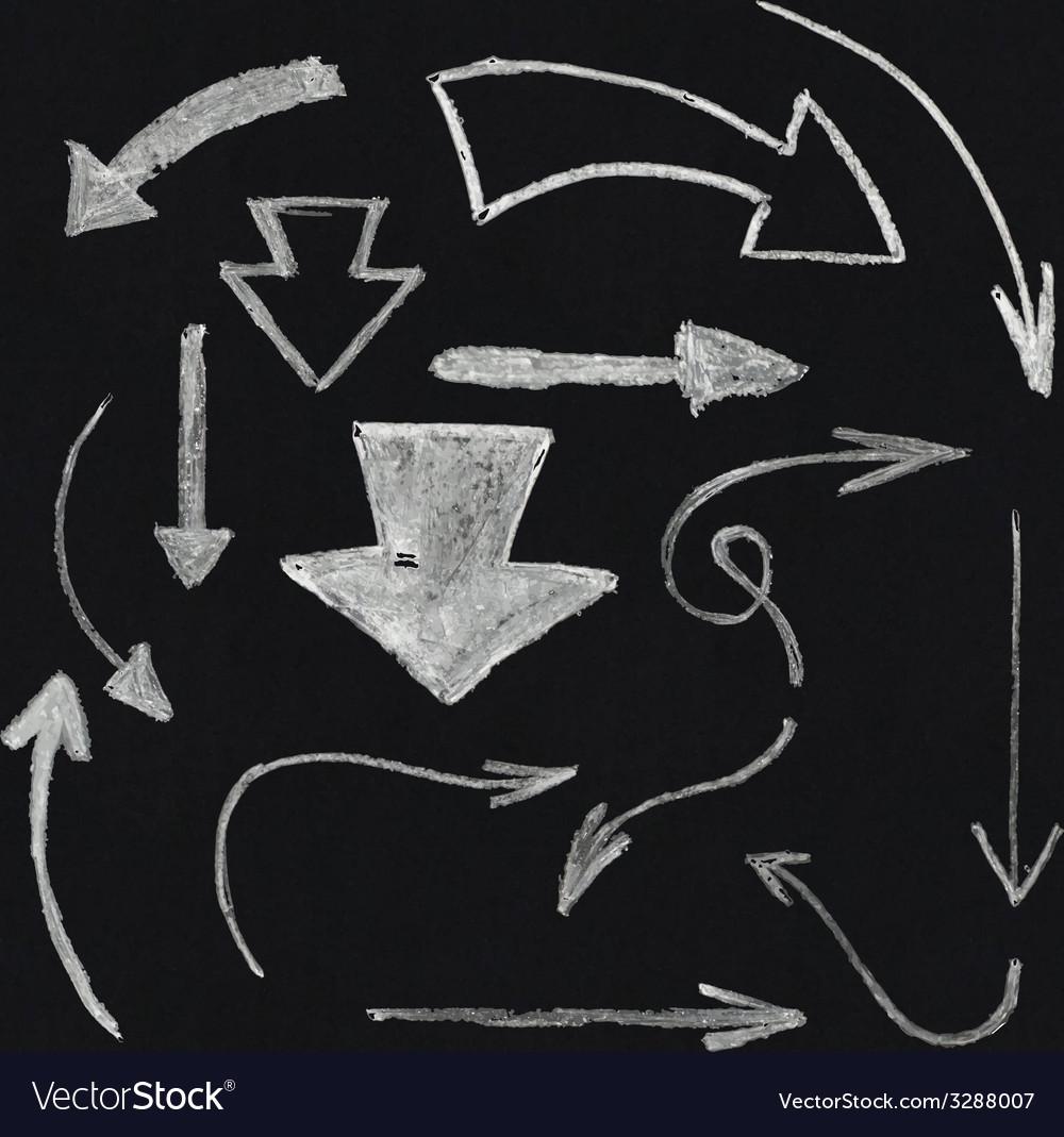 Chalk arrow set vector
