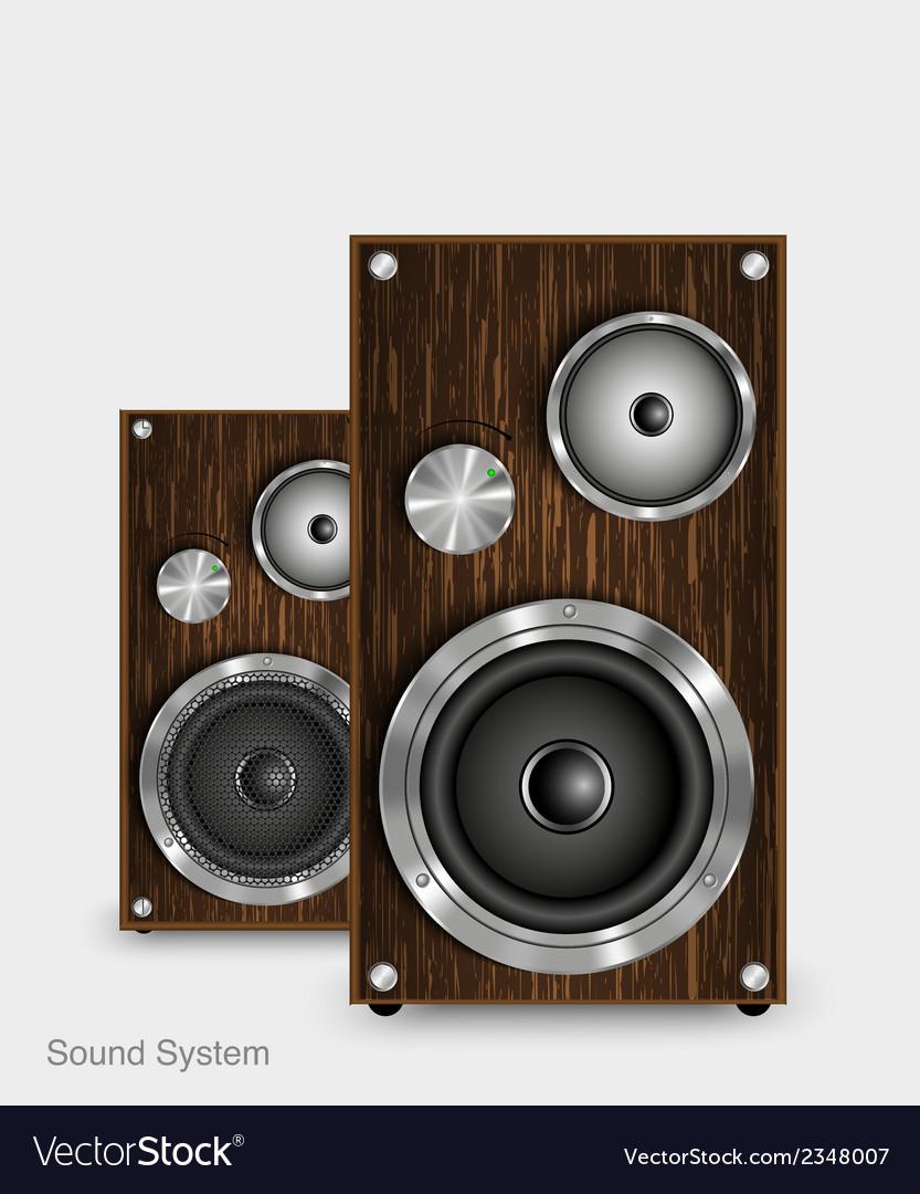 Wooden two way audio speaker vector