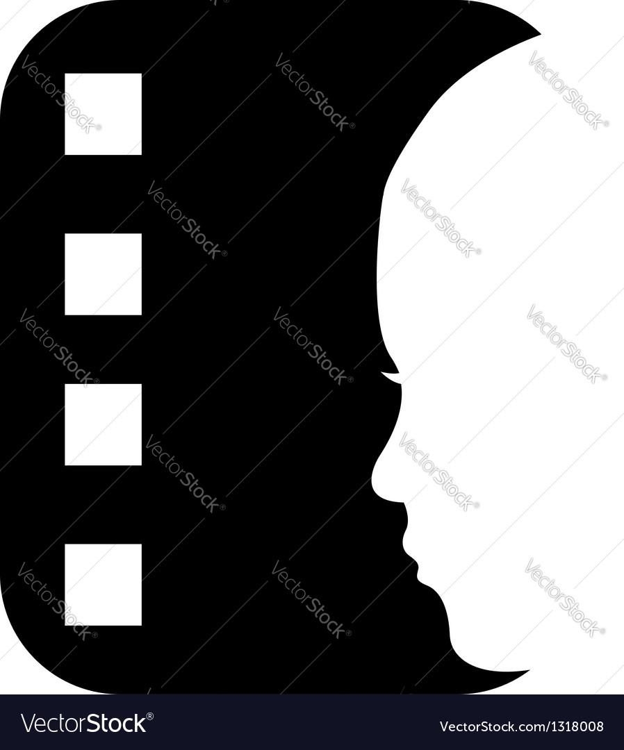 Cinema reel logo with a ladys face vector
