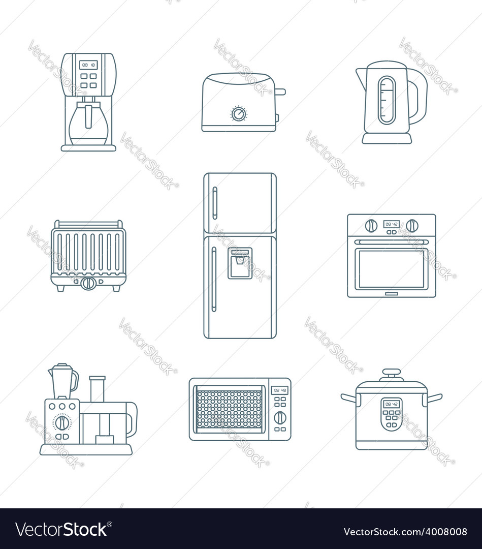 Dark outline various kitchen devices set vector