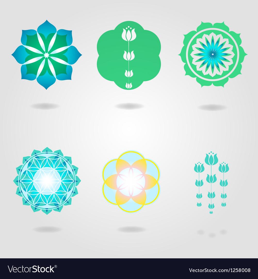 Floral mini mandalas set vector