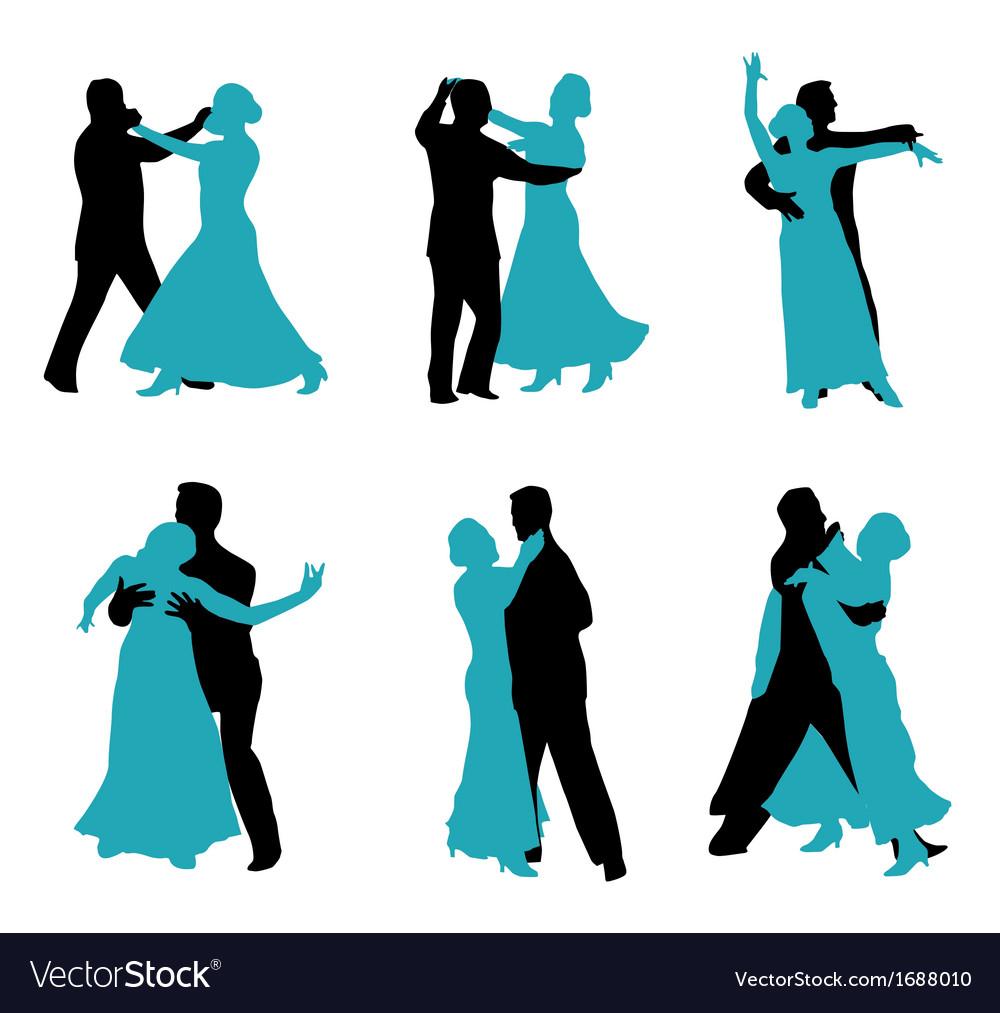 Couple ballroom dancing silhouette vector