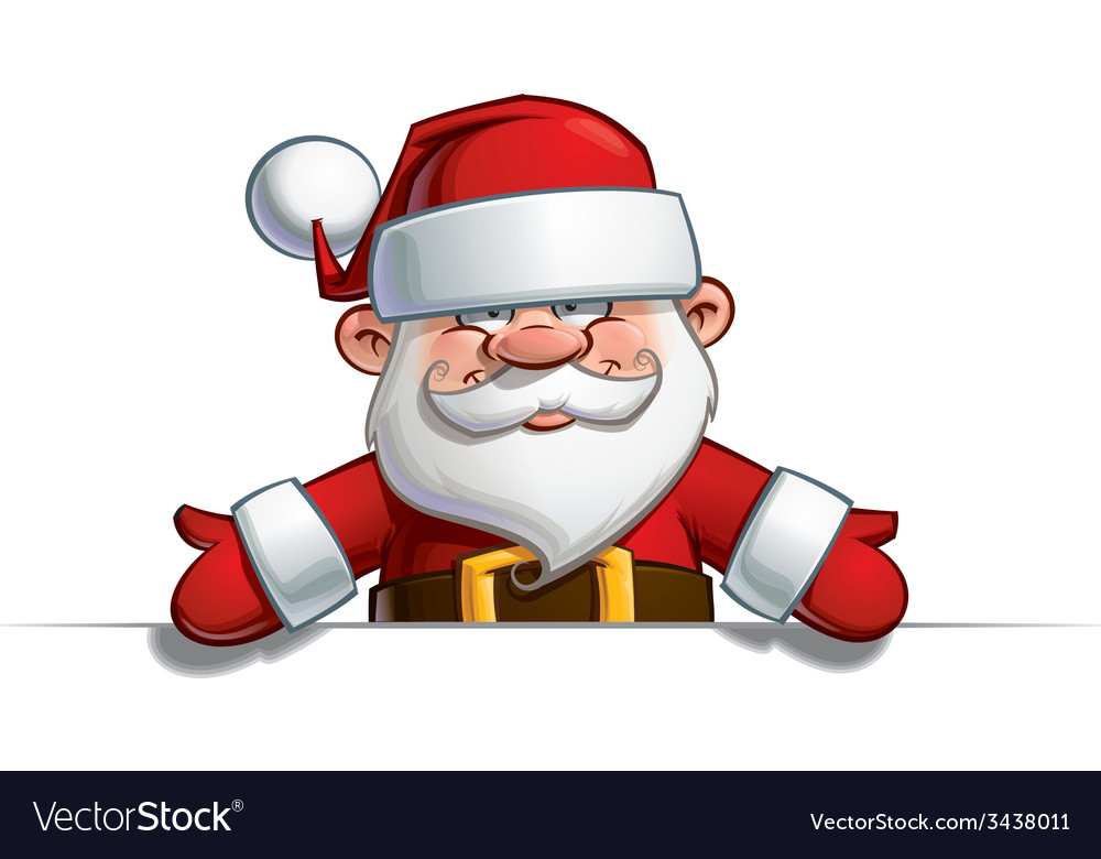 Happy santa empty label open hands vector