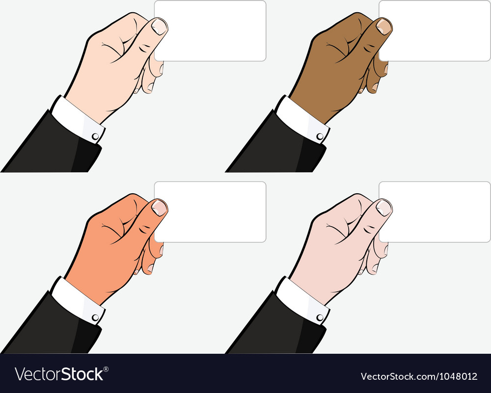 Hands holding business card vector