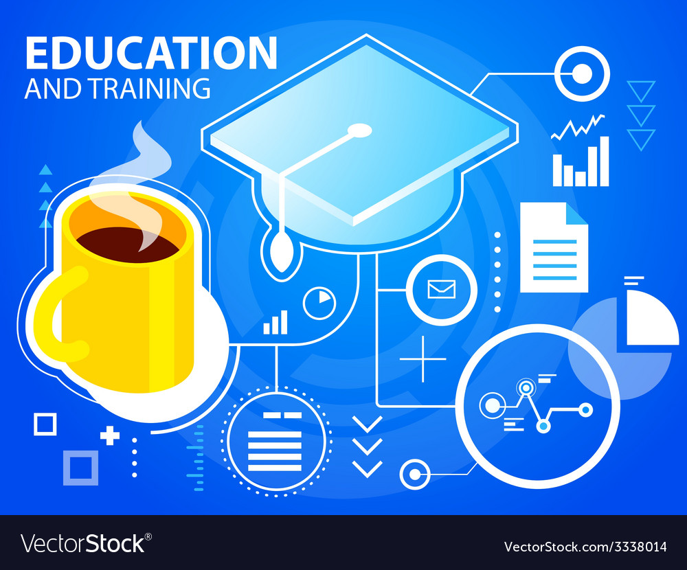 Bright cap graduate and coffee on blue backg vector