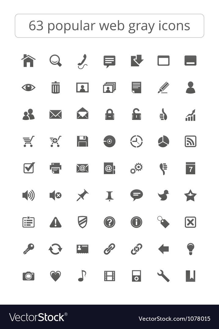 63 popular web gray icons vector
