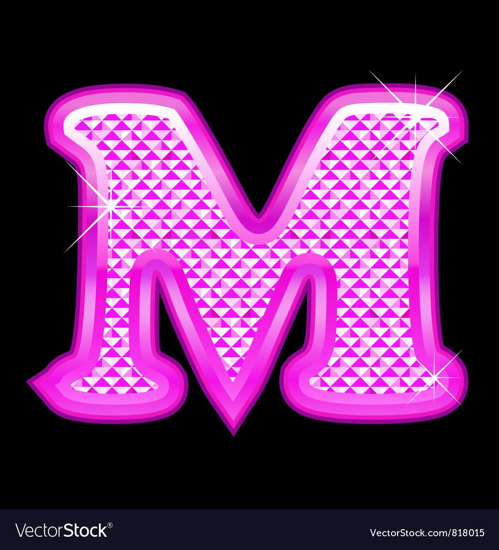 M letter pink bling girly vector
