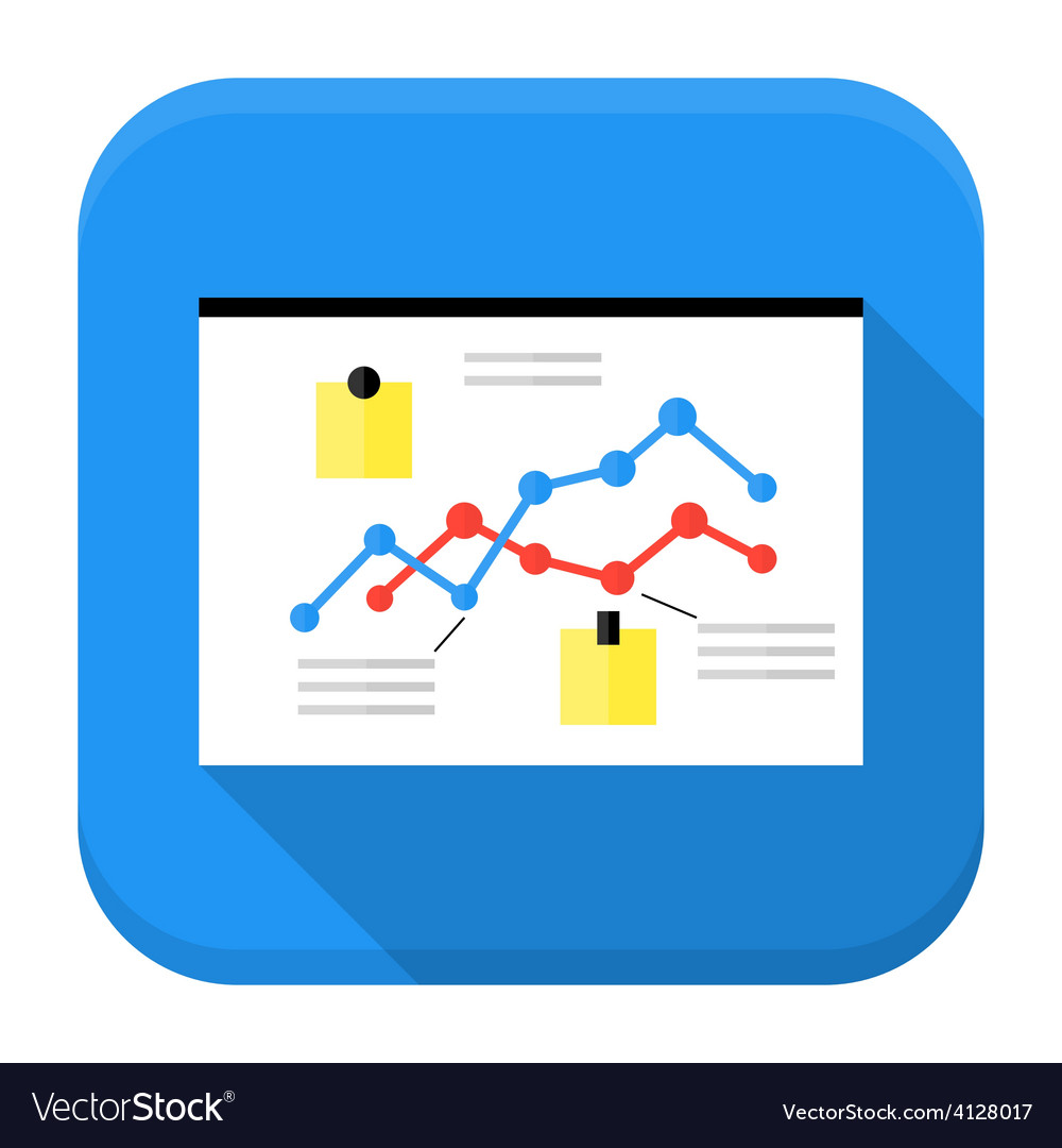 Desk with data app icon with long shadow vector