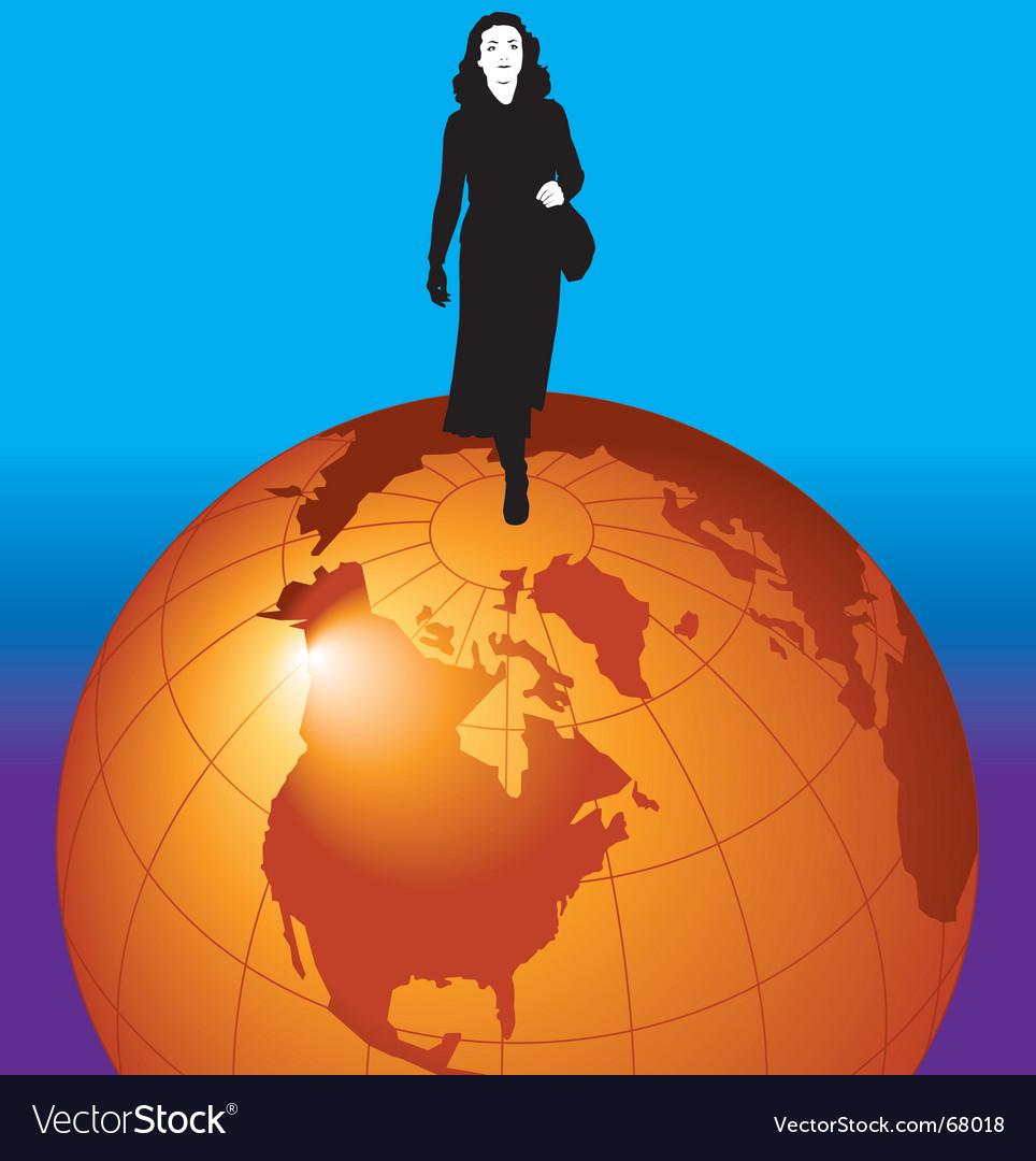 Walking the globe vector