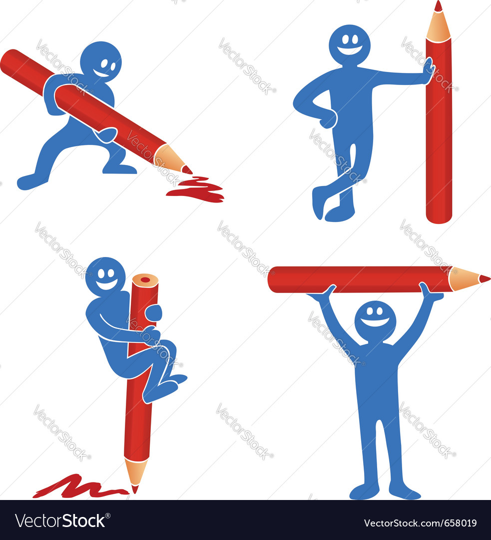 Blue stick figure vector