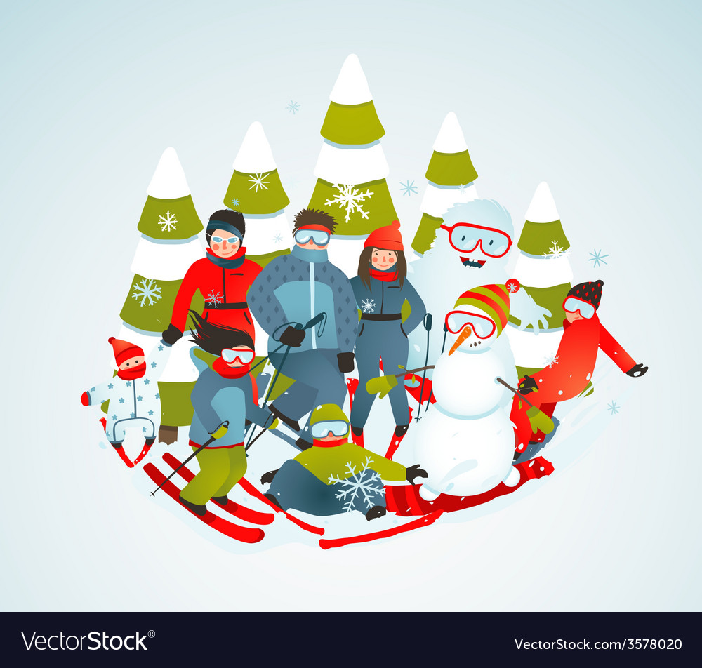 Cheerful sporty group of skiers snowboarders and vector