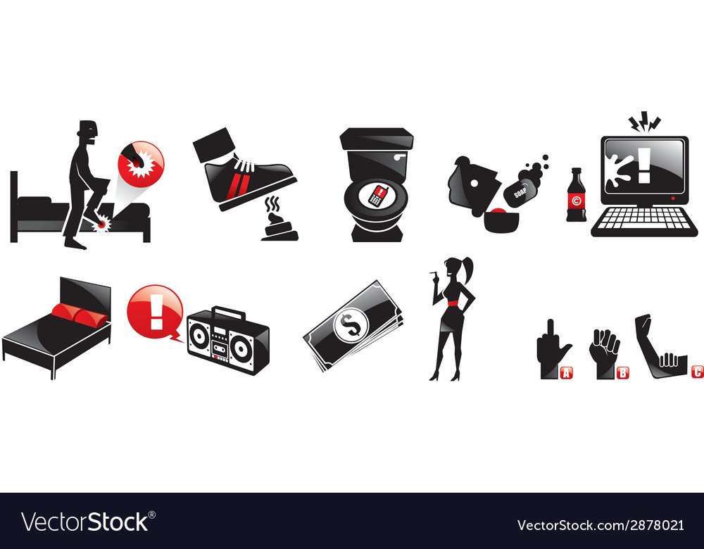Bad luck black icons isolated vector