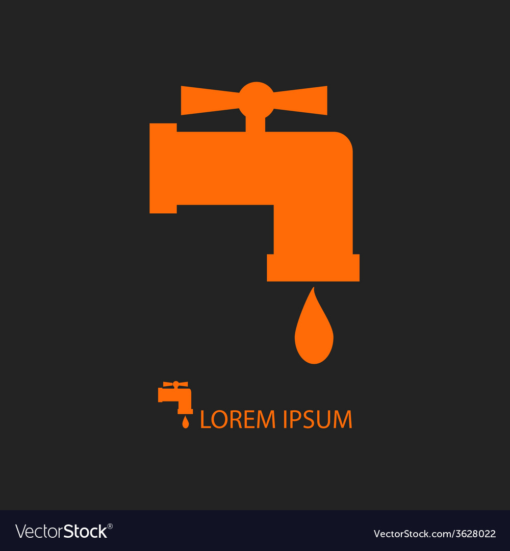 Orange tap with water drop on black vector