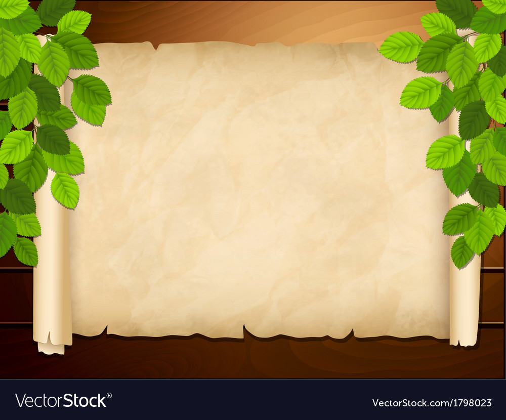 Old paper on the wooden background vector