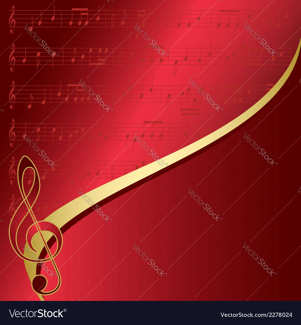 Red background with musical notes vector