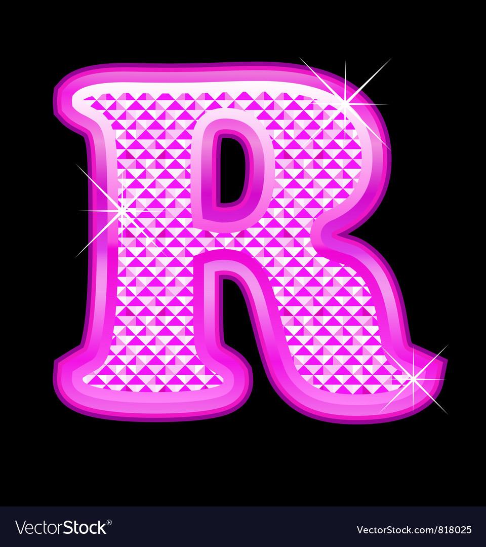 R letter pink bling girly vector