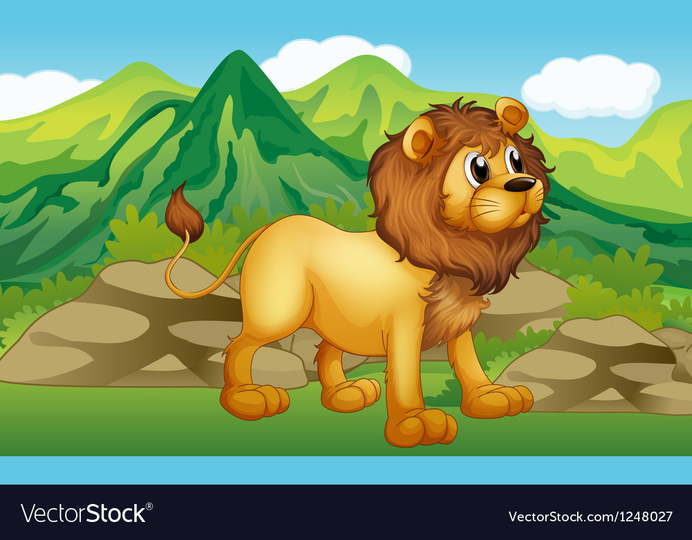 A lion in a mountain scenery vector