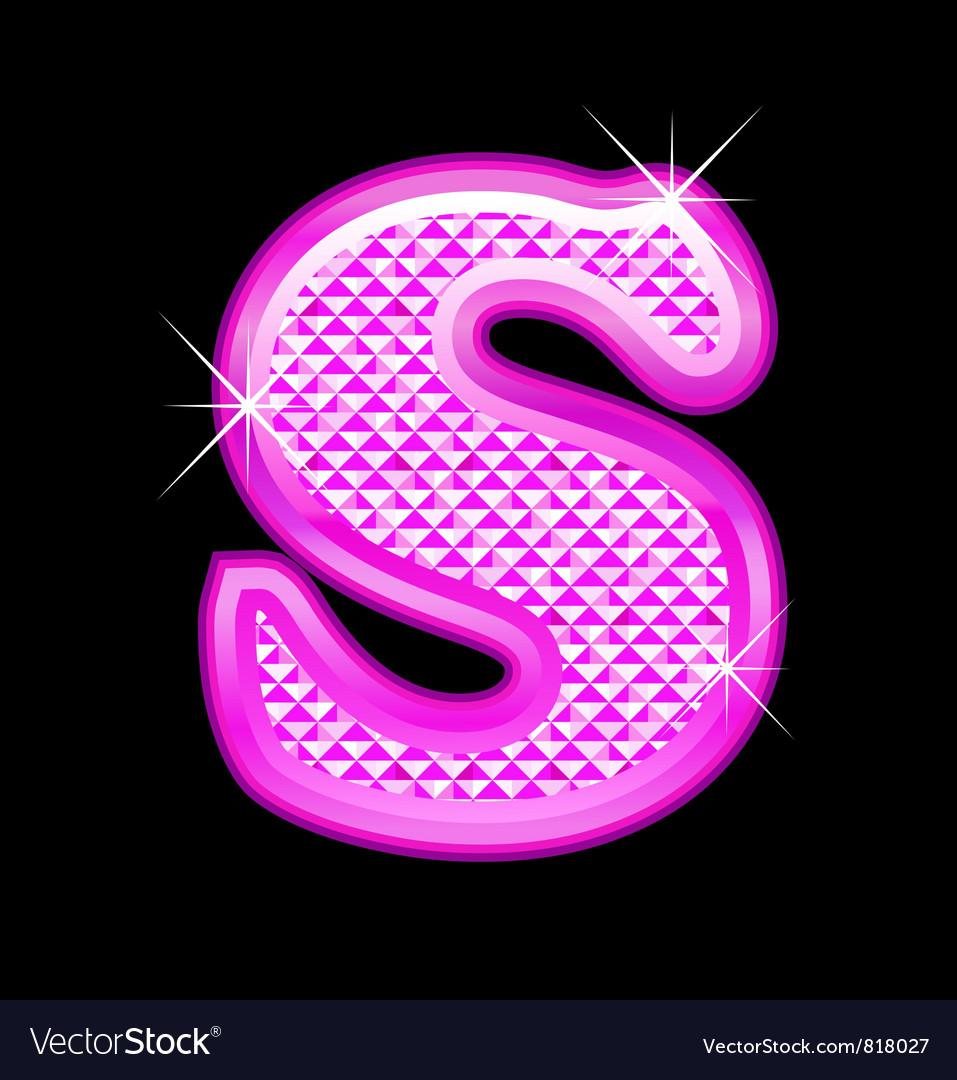 S letter pink bling girly vector