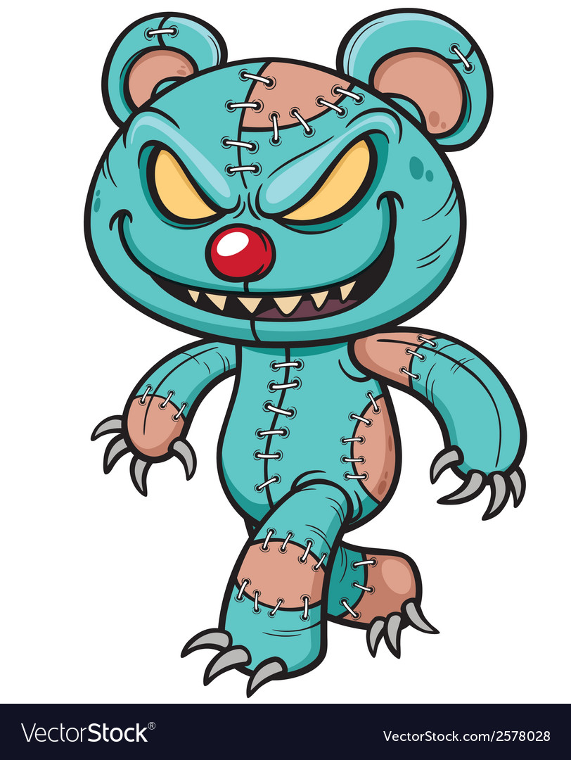 Evil teddy bear vector