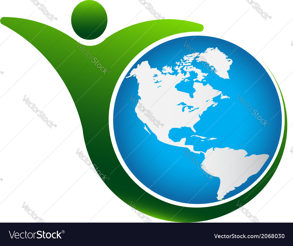 Person fit world logo vector