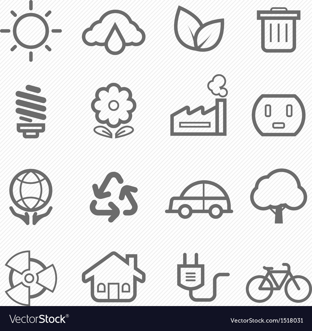 Ecology symbol line icon set vector