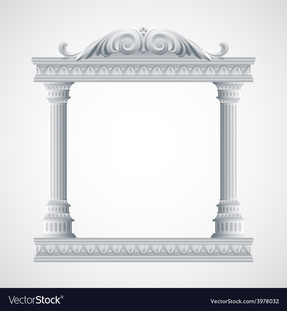 Portico an ancient temple colonnade vector