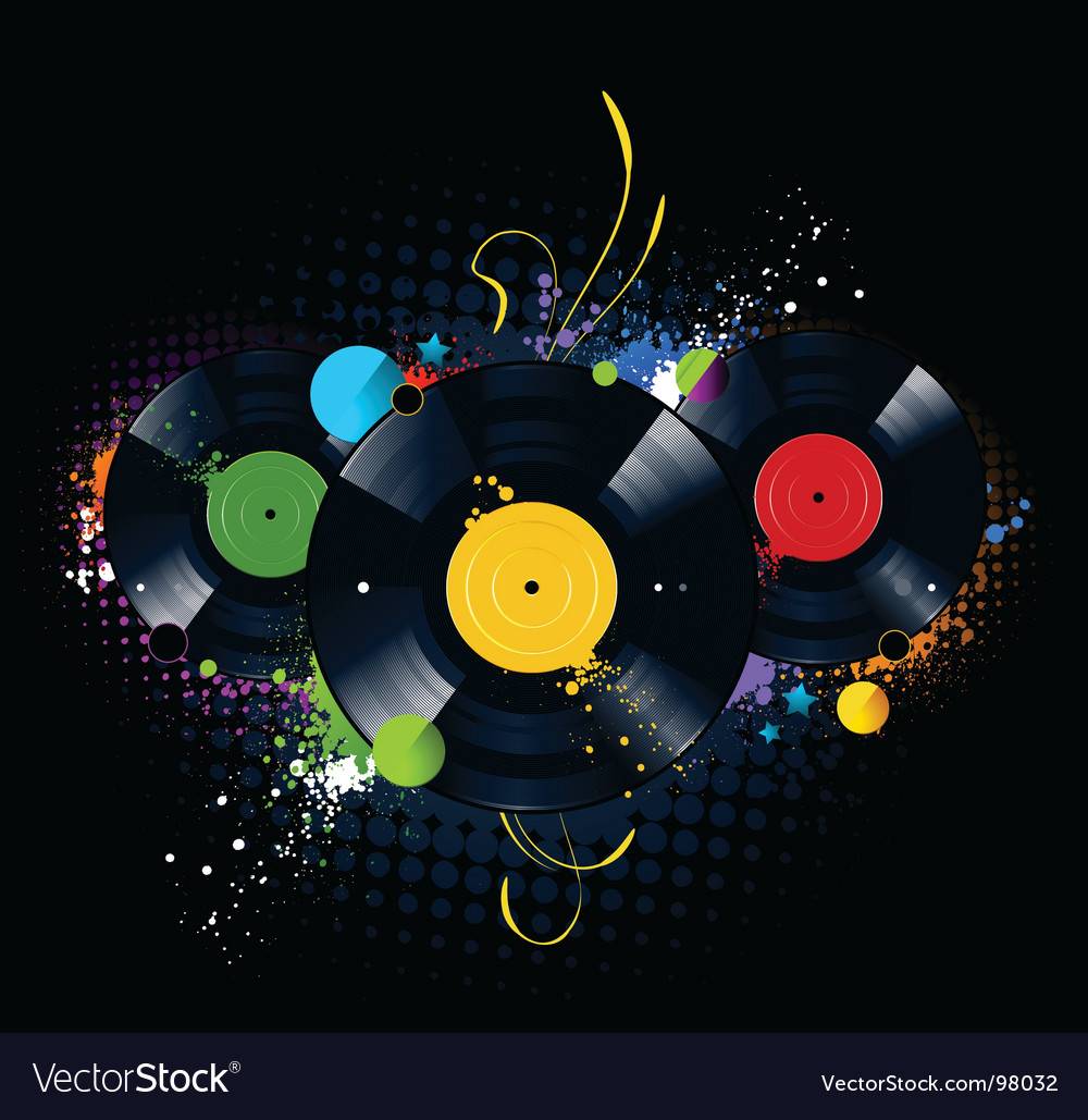Vinyl disc graffiti vector