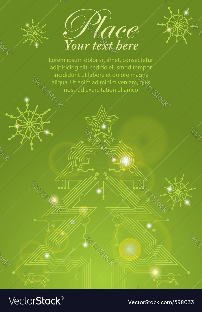 Christmas tree circuit board vector