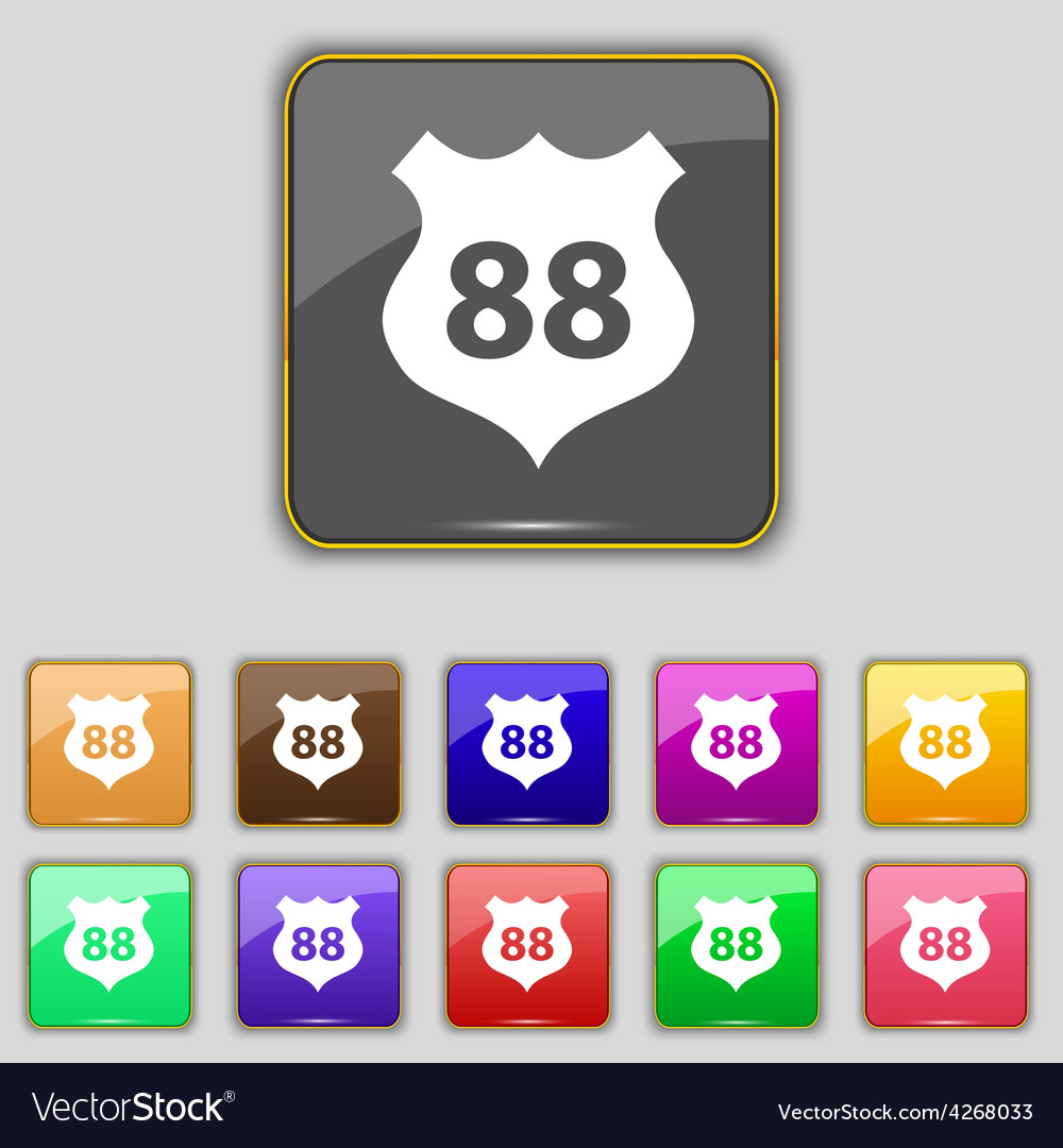 Route 88 highway icon sign set with eleven colored vector