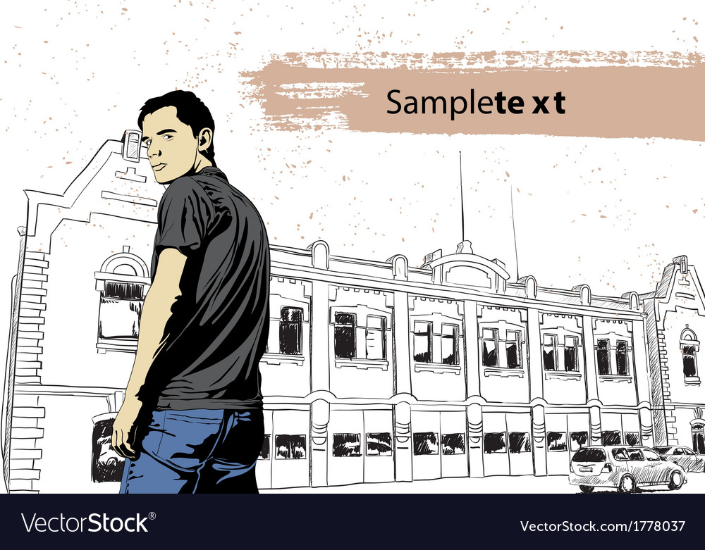 Stylish young guy vector